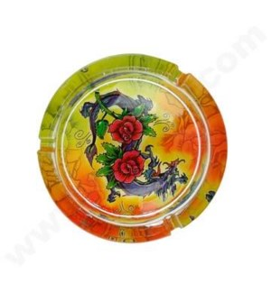 DISC Ashtray Glass Display Tattoo Large