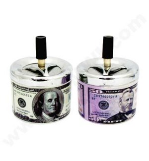 "DISC  Ashtray Push Down 5"" Dollar Bills 50s bills/100s bills"
