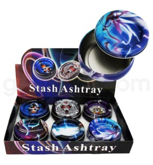 DISC Ashtray metal stash w/storage box 6PC/BX