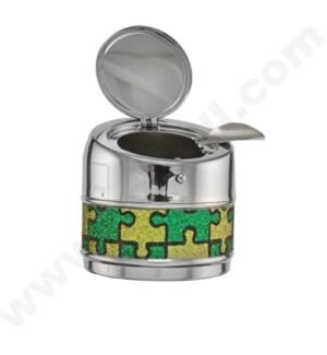 DISC Ashtray Round Push Open Puzzle Glitter