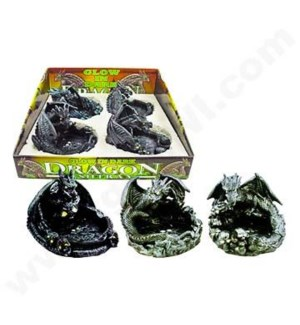 DISC  Ashtray Dragon glow in the dark 4PC/BX 12/CS