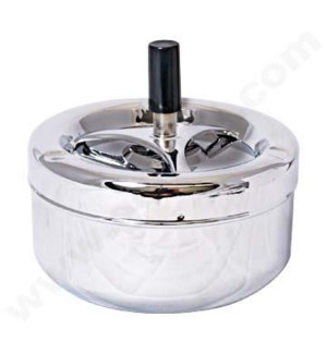 "DISC Ashtray  Round spinning 5"" Chrome @"