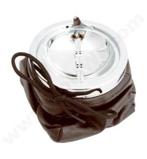 DISC Ashtray Bean Bag Brown w/chrome lid
