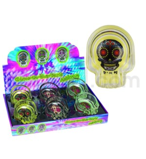 Ashtray Glass Glow in the Dark Day of the Dead Skulls 6PC/BX