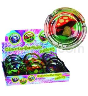 Ashtray Glass Glow in the Dark Mushroom/Color Splash 6PC/BX