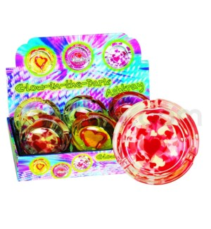 Ashtray Glass Glow in the Dark Asst Heart Designs 6PC/BX