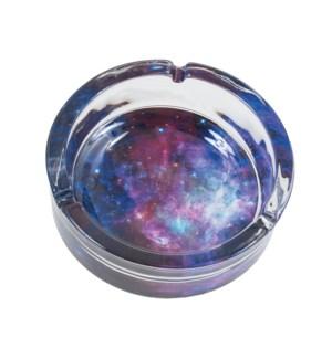 Ashtray Glass 6.25' Galaxy Glow In Dark 2PC/BX