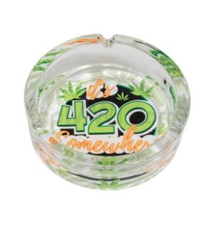 Ashtray Glass 6.25' 420 Design Glow In Dark 2PC/BX