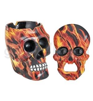 """Ashtray Ceramic 4"""" w/ Bottle Opener Ceramic 4"""" - Flame Skull"""