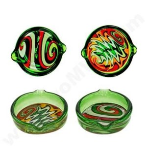DISC Ashtray Glass Mini Swirl Dish- Green w/ Wig Wag
