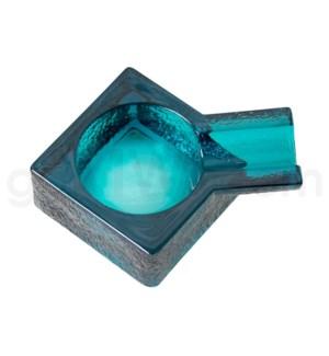 "Glass Cigar Ashtray 4.75"" Light Blue"