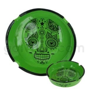 Ashtray Polystone Skull Green