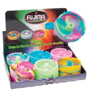 Silicone Ashtray G/D Color W/Snuffer 12PC/BX