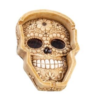 """Ashtray 6.5"""" Big Sugar Skull Polystone"""
