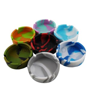 "Silicone 3"" Round Ashtray - Assorted Colors"