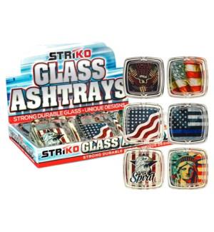 "Striko Glass Square Ashtray 3.5"" 6CT Display - Americana"
