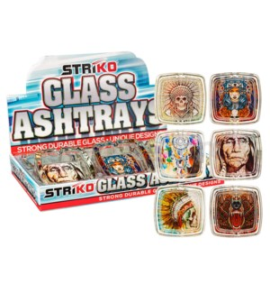 "Striko Glass Square Ashtray 3.5"" 6CT Display - Indian"