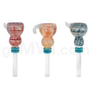 Glass 9mm Fumed Bowl w/Handle Asst. Colors/Designs
