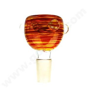 DISC 19mm GoG Bowl Fumed w/Stripes & Marbles- Asst. Colors
