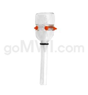 Glass 9mm Triangle Bowl Clear-w/Orange Spikes