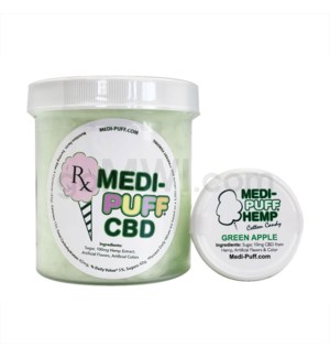MEDI-PUFF Hemp CBD Cotton Candy 100mg - Green Apple