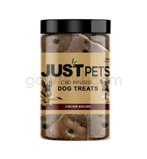 JUST CBD 100mg Dog Treat Jars Pet Chicken Biscuits