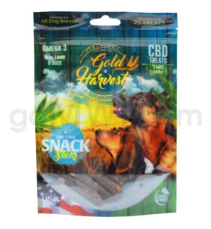 Gold Harvest CBD Dog Treats 100mg Lamb & Duck Snack Sticks