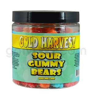 Gold Harvest CBD Gummy Jar 600mg Sour Bears