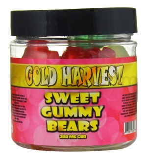 Gold Harvest CBD Gummy Jar 300mg Sweet Bears