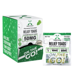 Green Roads CBD Edible 50mg 5ct Relief Toads 30PC/BX