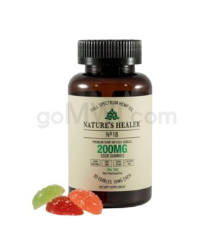 Nature's Healer CBD Edible 200mg (20pc/10mg ea) Sour Gummies
