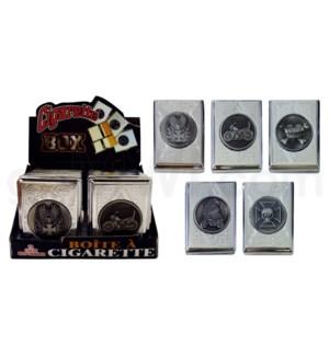 DISC Cigarette case w/assorted metal design 12PC/BX