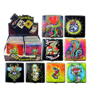 Cigarette Case Skull & Tattoo design 80mm 12PC/BX