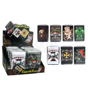 DISC Cigarette Case Skull & Tattoo design 80mm 12PC/BX