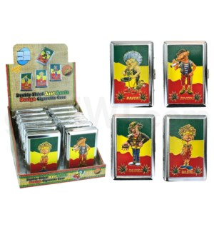 Cigarette Case Metal w. Rasta Design 12PC/BX