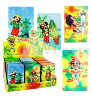 Cigarette Box Tin print metalic rasta 12PC/BX