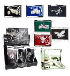 Cigarette case w/assorted metal design 6PC/BX