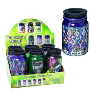 Ceramic Storage Jar Large 8oz w/ Stash Lid Asst Designs 6pc