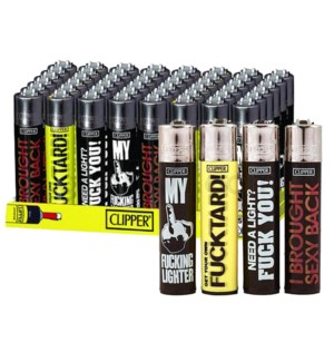 Clipper Electronic Lighters Funny Sayings 48CT/BX