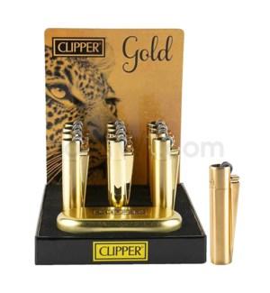 Clipper Full Metal Gold Flint Lighter Display 12CT/BX