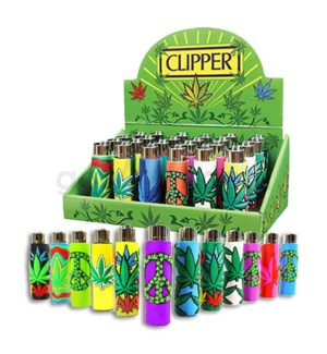 Clipper Electronic Lighter Pop Cover Edition Leaves 24CT/BX
