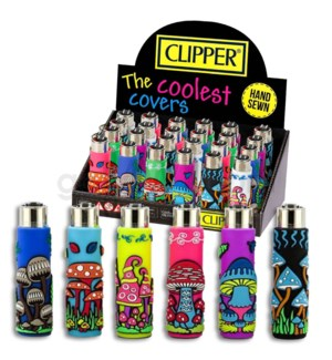 Clipper Electronic Lighter Pop Mushroom Assorted 24CT/BX