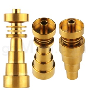 Titanium:10/14/19mm Colored Domeless 6-in-1 Nail Golden