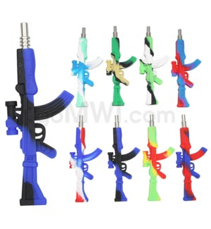 "Silicone 14mm 5"" AK 47 Nectar Collector -Assorted Colors"