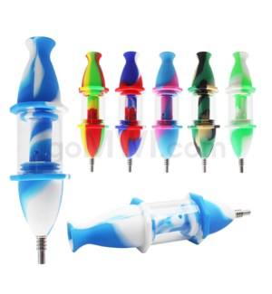 "Silicone & Glass 7"" Nectar Collector - Assorted Colors"