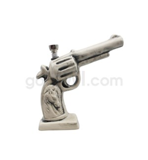 DISC Ceramic WP Gun w/Horse Image-White