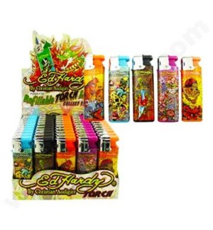 DISC Ed Hardy refillable TORCH lighter series B 50CT/BX