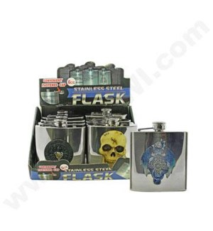 DISC Flasks 6 oz polyresin skull design