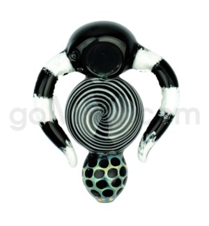 """C/T 4"""" Frit Spoon w/Horn Implosions & Fumed Mouth Piece- Ass"""