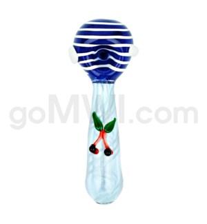 "I/O 4"" Frit Spoon w/White Stripes & Cherry Implosion - Asst."